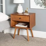 Walker Edison Furniture Company Mid Century Modern Wood Nightstand Side Bedroom Storage Drawer and Shelf Bedside End Table, 1, Caramel