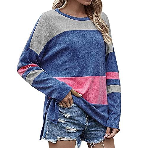 XYJD Lente en Zomer Dames Casual Pullover Kleurblokkerende Trui Losse Trui T-Shirt Vrouwen - blauw - 5XL