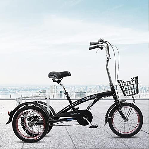 Triciclo per Adulti 3 Ruote Bike 16 Adult Tricycle Seniors Shopping Cargo Trike con Cesto per Lo Shopping Sportivo All aperto(Color:Nero)