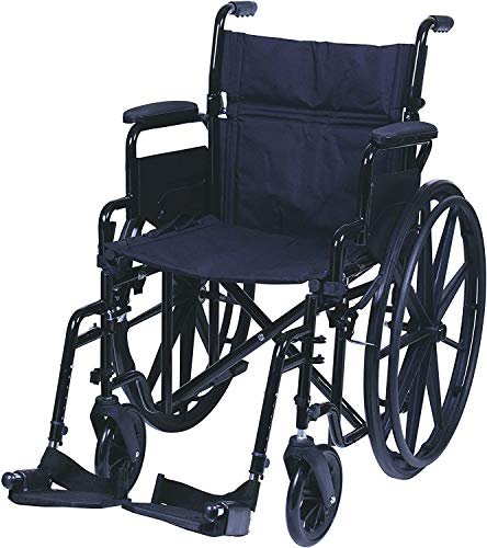 "Carex Health Brands, Wheelchair with Large 18.5"" Padded Seat Wheel Chair with Adjustable and Removable SwingAway Footrests Folding Chair for Compact Storage 250lb Capacity, Black,1 Count"
