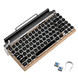 Retro Typewriter Keyboard, Electric Typewriter Vintage with Upgraded Mechanical Bluetooth 5.0,Multi Devices Connection Classical Wooden,Punk Round Keys for Desktop PC/Laptop Mac/Phone