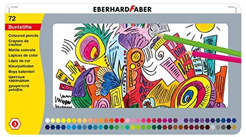 Eberhard Faber 514872 - Buntstifte in 72 Farben, hexagonale Form, im Metalletui, zum Malen, Illustrieren und Zeichnen