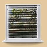 ECD Germany Persiana veneciana aluminio 80 x 130 cm - Negra - láminas de aluminio - Protección luz y privacidad - Para ventanas y puertas - Incluye todas las piezas de montaje - Cortina plisada