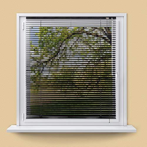 ECD Germany Persiana veneciana aluminio 140 x 175 cm - negro - láminas de aluminio - Protección luz y privacidad - Para ventanas y puertas - Incluye todas las piezas de montaje - Cortina plisada