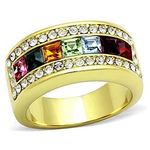 YourJewelleryBox TK1402pb MULTI GEM PRINCESS ETERNITY SIMULATED DIAMOND RING WOMENS BAND YELLOW SIZE L USA 6