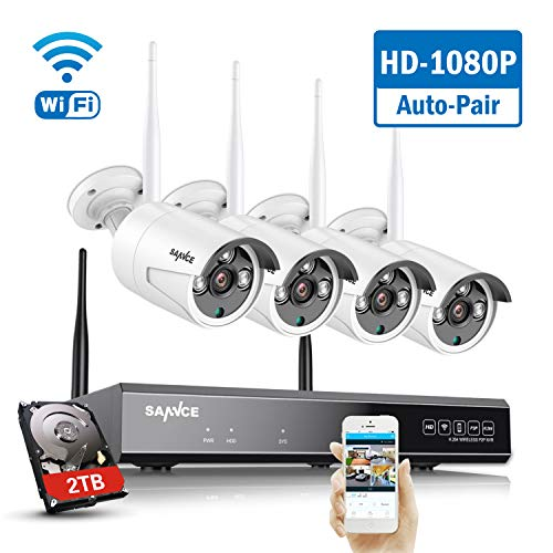 【2020 New】SANNCE 8CH 1080P Wireless CCTV Camera System 2TB Hard Drive with...
