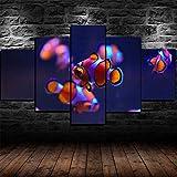 HUQIANG-Decoracion Salon Modernos 5 Piezas- Cartel De Peces Submarinos De Acuario De Pez Payaso-No Tejido Lienzo Impresión Modular Poster Mural Listo para Colgar con Marco 100X55Cm