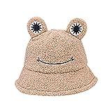 Bonito sombrero de rana, esponjoso, de algodón, para adultos y niños, sombrero de pescador de ala ancha, gorro de peluche, sombrero de rana, Brown (Marrón) - BDK05UOPM1145MVG5K