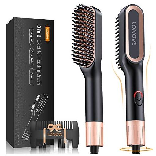 - 51Xf52L2qWL - LONOVE Beard Hair Straightener Comb Brush 3-in-1 Anti-Scald Beard Comb Straightener for Men Multifunctional Hot Comb Hair Straightening Iron