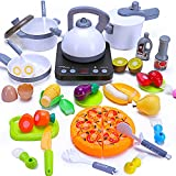 Play Kitchen Toys Kids Food Sets Pretend Kitchen Accessories with Electronic Induction Cooktop, Cutting Play Food, Pots Pans Play Kitchen Food Cooking Set Gift for Boys Girls Age 3 4 5 Year Old