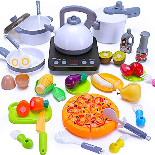 Play Kitchen Set 35pcs with Pretend Play Food Cutting, Pots Pans, Electronic Induction Cooktop, Cooking Utensils, Kitchen Accessories Cooware Playset Gift for Kids Boy Girl Age 2 3 4 5 Year Old