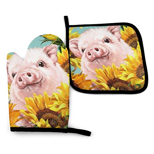 Antvinoler - Manopla para horno y potholder, diseño de cerdo con girasoles en color azul, guante para horno y soporte para macetas, anticalor, antideslizante con textura