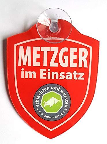 """Schilder Einsatzschild für die Windschutzscheibe inkl. Saugnapf """"schlachten und wursten"""" (Wappen Metzger rot)"""