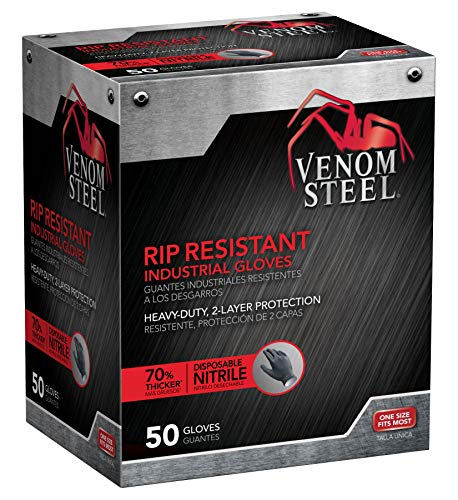 Venom Steel Nitrile Gloves, Rip Resistant Disposable Latex Free Black Gloves, 2 Layer Gloves, 6 mil Thick, One Size Fits Most (Pack of 50)