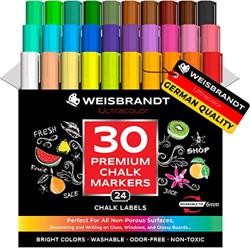 WEISBRANDT UltraColor Vibrant Liquid Chalk Markers, Mega Pack of 30, Premium Dry Erase Marker Pens - Use on Chalkboards, Whiteboards, Blackboards, Glass, Reversible 6 mm Tip - 24 Chalkboard Labels