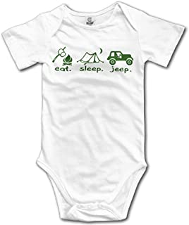Unisex Eat Sleep and Jeep Cute Baby Rompers Baby Onesie Short Slev