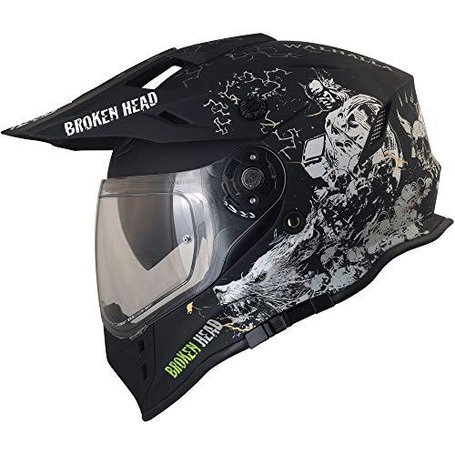Broken Head Fullgas Viking VX2 - Motorradhelm Mit Sonnenblende - Cross-Helm In Schwarz & Grau - Größe L (59-60 cm)