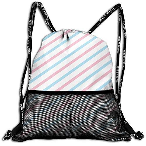 Rucksack, 3D, pastellfarben, rosa, blau, weiß, gestreift, tragbar, für Erwachsene