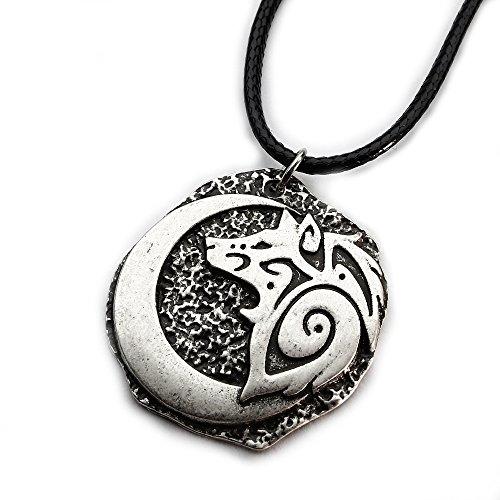 Miss-E-JEWELS-Abalorio de plata media luna luna lobo aullando envejecido colgante collar suéter para hombre Talisman Saxon Viking Nordic