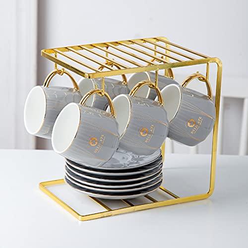 Estilo europeo oro con tapa y cuchara taza de cerámica simple hogar caliente casual taza oficina negocio café taza 6 juegos de tazas sin marco de hierro B