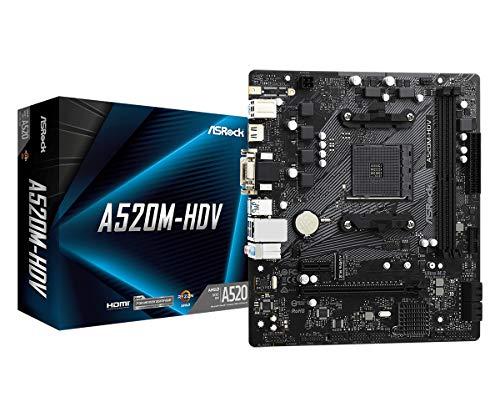 ASRock A520M HDV AM4 2 DDR4 4XSATA Ultra M.2 6XUSB Ports 7.1 CH HD