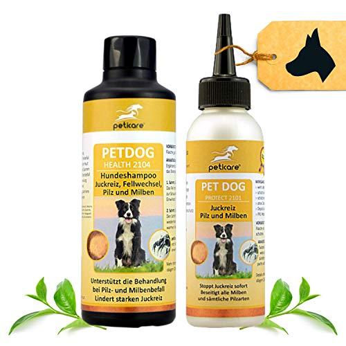 Peticare Hunde Spezial Pflege-Set bei Juckreiz Milben Flöhe - Effektive Lotion 100 ml & Shampoo 250 ml gegen Jucken Geruch Pilz-Befall Floh-Befall, auch für Welpen, rein pflanzliche Inhaltsstoffe