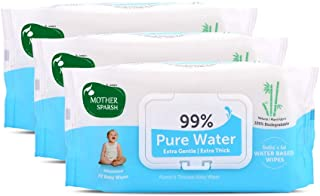 Mother Sparsh 99% Pure Water (Unscented) Baby Wipes I Natural Plant Made Cloth - Super Thick I 72 pcs/Pack - Pack of 3