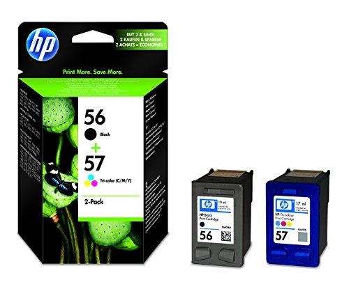 HP 56/57 Multipack Original Druckerpatronen (1x Schwarz, 1x Farbe) für HP OfficeJet, DeskJet, Photosmart