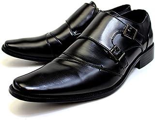 [ルミニーオ] ビジネスシューズ モンクストラップ 革靴 ブラック 3E 紳士靴 メンズ lufo3777-bk