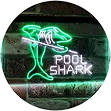 Pool Shark Snooker Pool Room Man Cave Gift Dual Color LED Neon Sign White & Green 600 x 400mm st6s64-i2009-wg