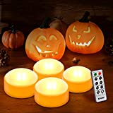 Kohree LED Orange Pumpkin Lights Battery Operated with Remote and Timer, Halloween Decorative Jack-O-Lantern Light Decor, Flameless Candles for Pumpkins Party Decorations Set of 4