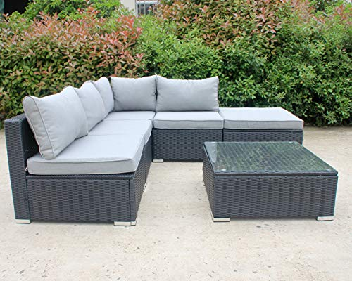 Enjoy Fit Gartenmöbel Rattan Polyrattan Lounge Sitzgruppe Garnitur aus Sessel Sofa Hocker Tisch mit Glas, Modell: Capri
