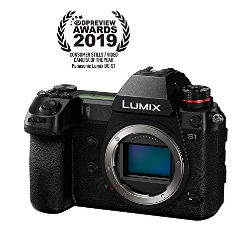 "Panasonic LUMIX S1 Full Frame Mirrorless Camera with 24.2MP MOS High Resolution Sensor, L-Mount Lens Compatible, 4K HDR Video and 3.2"" LCD - DC-S1BODY"