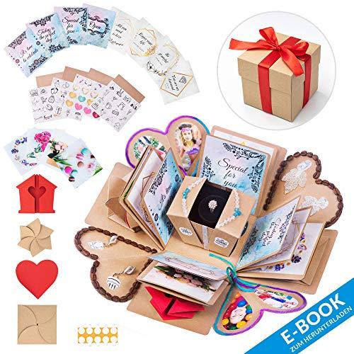 WONDER BOX Überraschungsbox – Kreative DIY Foto Geschenk Box – Explosionsbox Bilder Kiste - Das Besondere Geschenk für Geburtstag, Hochzeit, Verlobung, Jahrestag – Faltendes Fotoalbum (Bunt)