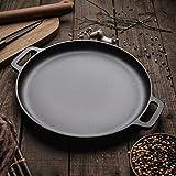 SADDPA Grill Pan cocinando el pote, 30cm / 33cm / 35cm Cast Iron bistec Inferior Pan Barbacoa Carne Asada Tostador de Ronda sin Recubrimiento Que Cocina la Pizza Pancake Planchas Flate