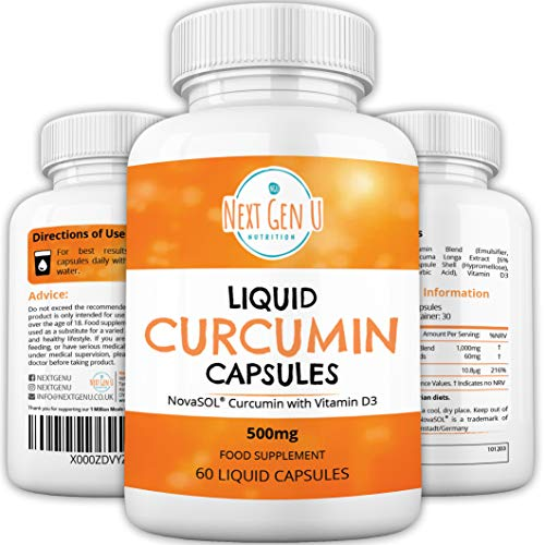 Liquid Curcumin Capsules 500mg with Vitamin D 60 Capsules | High Strength 185 More Bioavailability Curcumin by NovaSOL | Premium Liquid Curcumin not Turmeric Powder Tablets Vegetarian