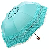 Honeystore Princess Lace Ultraviolet-Proof Folding Umbrella Anti-uv Dome Parasol Style1 Aqua