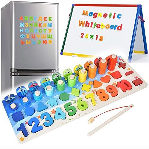 6 en 1 Numeros de Madera para Niños Magnéticos de Madera para Niños Juguetes Bebes Montessori Magnéticos para Niños Pequeños, Rompecabezas de Bloques Apilables de Matemáticas de Educación Temprana  
