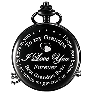 Hicarer Grandpa Pocket Watch, Father's Day Meaningful Grandpa Birthday Christmas Supplies