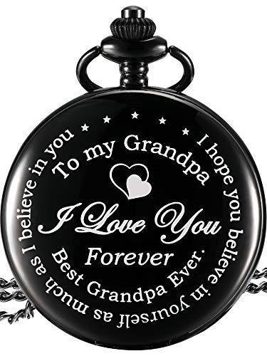 Hicarer Grandpa Pocket Watch Gift, Father's Day Gift Meaningful Grandpa Birthday Christmas Gift (Grandpa Gifts, White Dial)