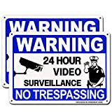 Video Surveillance Sign 2 Pack, No Trespassing Metal Warning Sign, 10'x7'- .040 Rust Free Heavy Duty Aluminum- UV Protected and Weatherproof Security Sign Indoor Or Outdoor by HISVISION