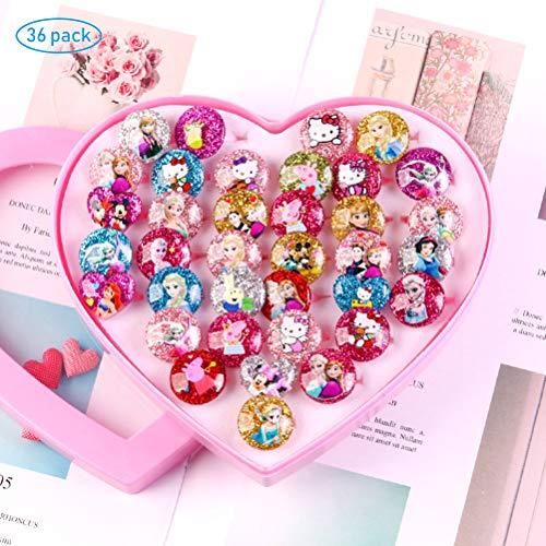 MUCHEN SHOP Anillos para Niñas,36 Pack Princesa Joyas Anillos de Dedo con Caja Ajustables Anillos de Juguete para Niños Regalos Favores Party Fiesta de Cumpleaños