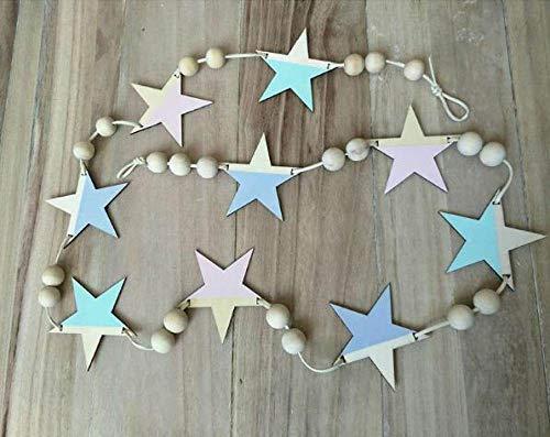 Versier LKU Nordic houten sterren en strepen hangend gordijn klein meisje baby kralen wanddecoratie gordijn bed gordijn, zilver