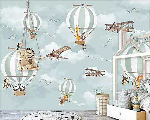 grote 3D Muurschildering Behang Fotobehang heteluchtballon vliegtuig dier kinderkamer achtergrond muurbehang voor muren 3 d-300x210cm(118.1by82.7in)