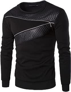 Men Winter Warm Splicing Leather Sweatshirt Coat Jacket Outwear Sweater