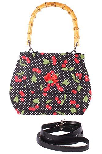 SugarShock Damen Polka Dots Kirschen Bambus Handtasche 159339649 Schwarz