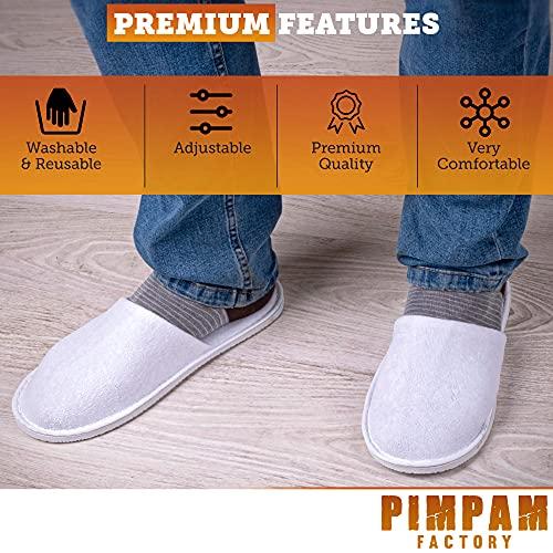 PimPam Factory - Pack de 5 Zapatillas de Rizo de Algodón, Color Blanco   Lavables   Pantuflas para Hotel, SPA, Casa, Viaje   Unisex   Ideal para Invitados y Huéspedes   Fabricado en España