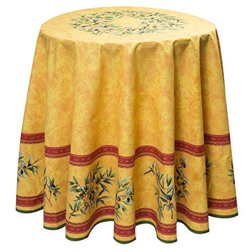 Provence-Tischdecke rund ca. 180 cm Maussane jaune Baumwolle