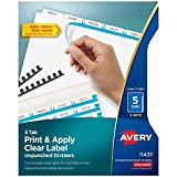 Avery 5-Tab Unpunched Binder Dividers, Easy Print & Apply Clear Label Strip, Index Maker, White Tabs, 5 Sets (11431)