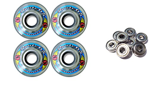 TGM Skateboards KRYPTONICS Route 65MM 78A Clear Longboard Skate Wheels + ABEC 9 Bearings